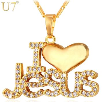 "U7 Necklace CZ Jesus Heart Pendant & Chain ""I Love Jesus"" Gift For Women/Men Silver/Gold Color Christian Jewelry Necklaces P610"