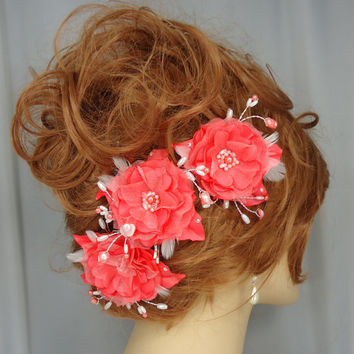 Coral Salmon Satin Organza Beaded Flower Trio Set of 3