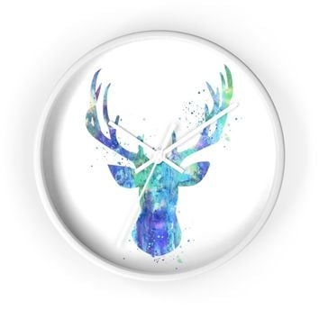 Watercolor Stag Head Wall Clock