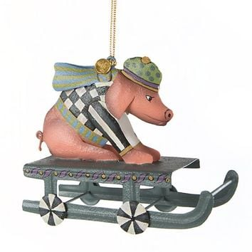 Sledding Pig Ornament