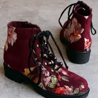 Shoe Republic LA Suede Floral Lace-Up Combat Ankle Boots