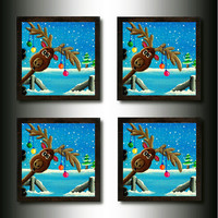 "Drink Coasters:  Set of  4 ""Photo-bombing""  Reindeer"