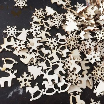 BITFLY 50pcs Natural wooden DIY Christmas tree Hanging Ornaments Pendant Gifts Tree Snow Flakes table bottle diy decoration
