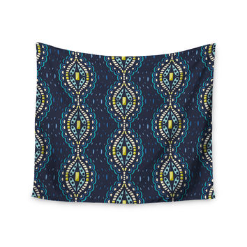 "Suzie Tremel ""Ogee Lace"" Navy Blue Wall Tapestry"