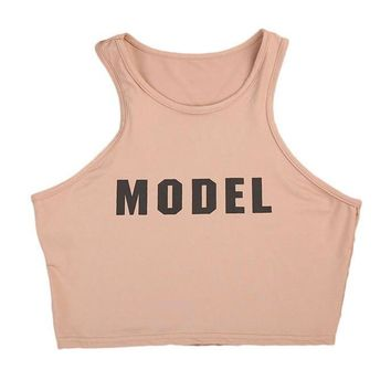 Model Cropped Racerback Tank Top