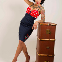 Nautical Style Pin up Rockabilly Dress with Anchor Tattoo - Made to Order - UK Size 8-16/US Size 4- 12 by Dollydripp