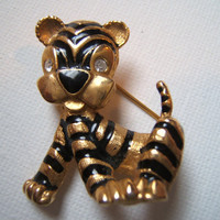 Black and Gold Rhinestone tiger brooch tiger brooch by PetalGem