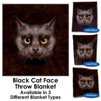 Black Cat Face Throw Blanket / Tapestry Wall Hanging