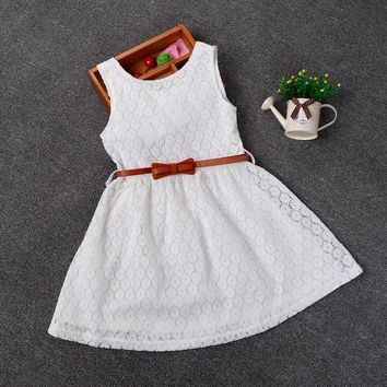 Berngi 2-8 Years Summer 100% Cotton Lace Vest Girls Dress Baby Girl Gift Dress Chlidren Clothes Kids Party Clothing Free Belt