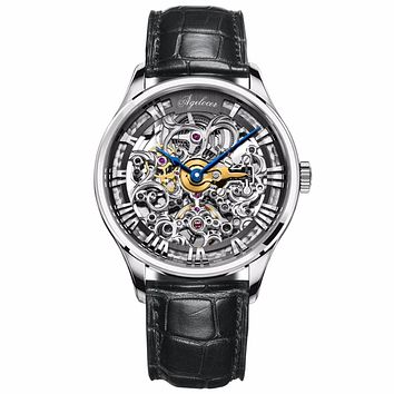 Agelocer Brand Men's Fashion Skeleton Dial Automatic Watch