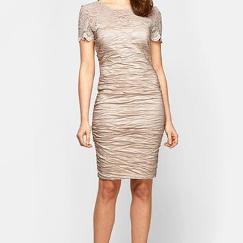 Women's Alex Evenings Lace Illusion Yoke Sheath Dress,