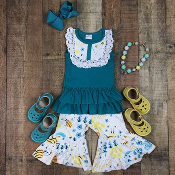 RTS Girls Teal Honey Bee Capri Outfit