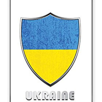 Premium Ukraine National Flag Badge Direct UV Printed iPhone 4, 4s Quality TPU SOFT RUBBER Snap On Case for iPhone 4 - AT&T Sprint Verizon - White Case