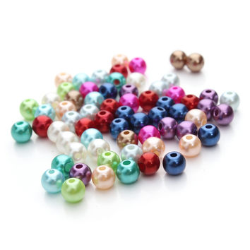 XINYAO 100pcs/lot 6 8 10 mm Imitation Pearl Acrylic Beads Necklace Findings Round Spacer Ball Beads For Diy Jewelry Making F48