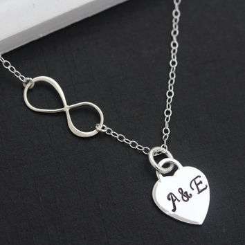 Infinity Necklace . Silver monogrammed . His Her initials. Heart Necklace, couple . Initial Necklace