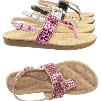 Rosa82K Children Girl Soft Padded Insole Wedge Thong Sandal w Rhinestone Crystal