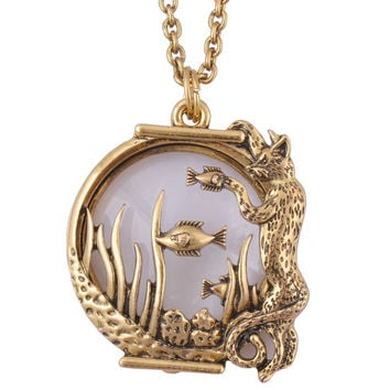 Ocean fish Animal style magnifier glass pendant necklace antiqu