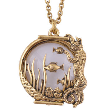 Ocean fish Animal style magnifier glass pendant  necklace antique gold jewelry with magnet closes and opens