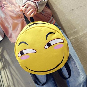 2017 Summer Autumn New Fashion Women Female Casual Cute Korean Zipper Cartoon Canvas Bag Cartoon Funny Backpacks Shoulder Bags