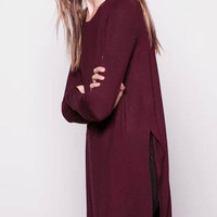 Long Sleeve Top with Side Split in Burgundy