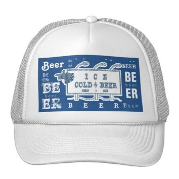 Ice Cold Beer Sign- White and Blue Style 2 Trucker Hat