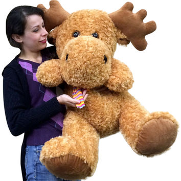 Big Plush Moose 36 inches Soft Adorable Premium Quality Stuffed Animal Three Feet Long Head to Tow - Big Plush Personalized Giant Teddy Bears and Custom Large Stuffed Animals