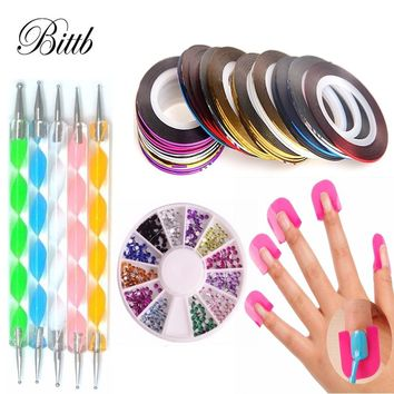 Bittb Nail Art Tools Set Dotting Pen 30pcs Rhinestones Rolls Nail Polish Shield Protect Manicure Pedicure Kit Glitter Decoration