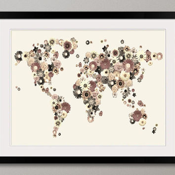Map of the World Map fromFlowers Art Print on Etsy