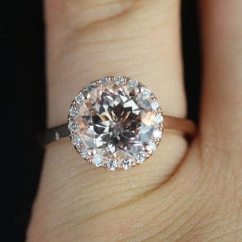 14kt Rose Gold Thin Morganite Round Halo No Diamonds On Shank Engagement Ring (Other metals and stone options available)