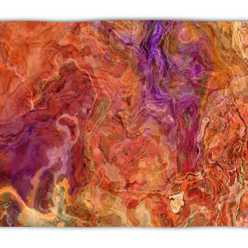 Abstract Art plush fleece throw, 50x60 and 60x80, coral fleece blanket in red orange, olive and purple Mediterranean