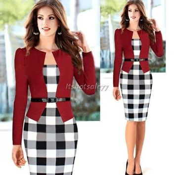 PEAPIX3 2014 Women Autumn Elegant Belted Tartan Patchwork Faux Tow Pcs Tunic Work Business Casual Party Bodycon Pencil Midi Office Dress = 1931449924