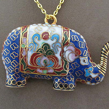 Vintage Cloisonne Elephant Pendant Necklace Colorful Trunk Up