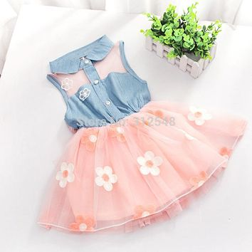 Spring Summer Dresses Baby Girl Dresses Kid Denim Sleeveless Princess Dress Tulle Tutu Mini Dresses