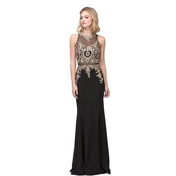 Appliqued Mermaid Long Prom Dress with Sheer Midriff Black