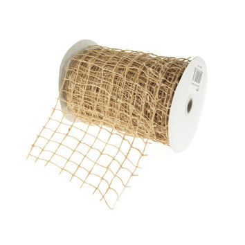 Square Net Jute Wired Ribbon, 6-inch, 10-yard