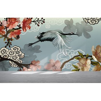 Manchurian Crane Flying Over Cherry Blossoms Peel and Stick Wallpaper | Removable Wall Mural. #6205
