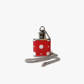 Flask Necklace 1oz - red and white polka dot pinup -  Looks like normal necklace when flask is hidden