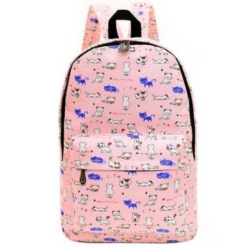 PEAPON Day First Cute Animal Dogs and Cats Printed Canvas Backpack
