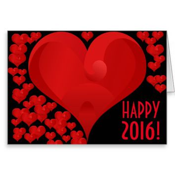 Happy New Year 2016 Sweet Valentine Love Heart Red Greeting Card
