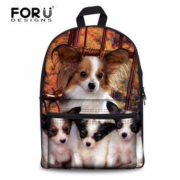 FORUDESIGNS Cute 3D Papillon Pattern Women Casual School Bags Casual Shoulder Backpack Children Book Schoolbag Mochilas Infantil