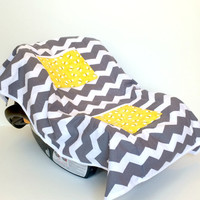 Car Seat Cooler for Infants, Baby, and Toddler, Chevron, Yellow and Gray, Bee's