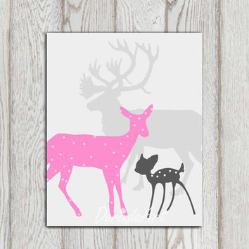Pink gray little girls bedroom decor Nursery art poster print Printable Deer family Baby shower gift idea Custom colors INSTANT DOWNLOAD
