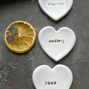 Positive Words Heart Ceramic Ring Dish Gold Lettering Inspirational Plate Love White Pottery Bridal Plate Jewelry Dish