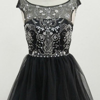 Crystal Beadings Black Chiffon Homecoming Dress,Short Prom Dress