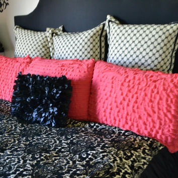 Custom Ruffled Small Throw Pillow Sham, Coral Pink, or You pick the Color