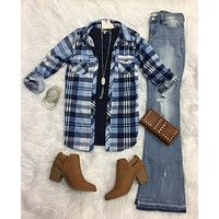 Penny Plaid Flannel Top: Navy/Lt Blue
