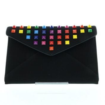 Black Rainbow Studded Canvas Envelope Clutch