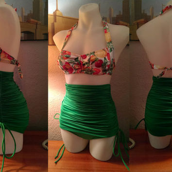 Retro Top & High Waist Tummy Control  Adjustable Skirt bottoms in Luscious and Jade