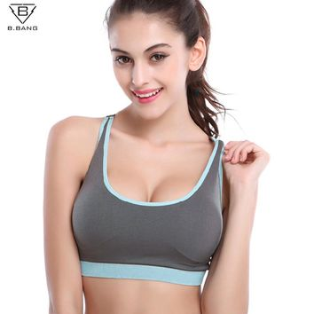 B.BANG Women Sports Yoga Bra Push Up Bra Woman Fitness Seamless Underwear Padded Crop Tops for Woman Running Vest Tops Bra