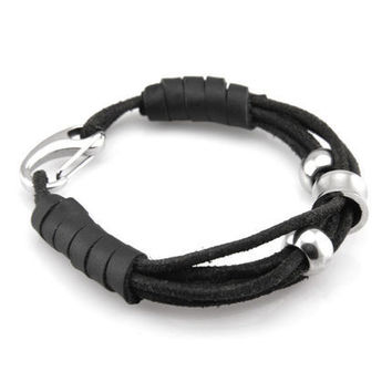 New Arrival Hot Sale Awesome Gift Stylish Great Deal Shiny Black Ring Handcrafts Men Cool Accessory Bracelet [6526729667]